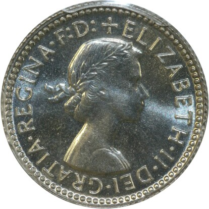 Obverse of the 1955 proof sixpence