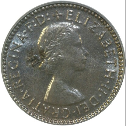 Obverse of the 1956 proof sixpence