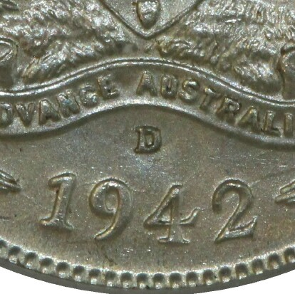 Denver 'D' mint-mark on the reverse of the 1942-D Sixpence.