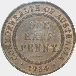 1934  Half Penny reverse
