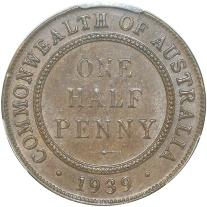 Old Reverse on a 1939 Half Penny.