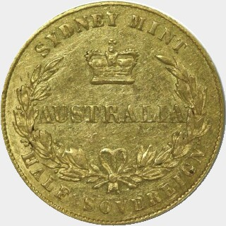 1856/5 Overdate Half Sovereign reverse