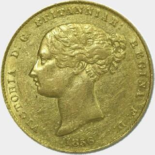 1856/5 Overdate Half Sovereign obverse