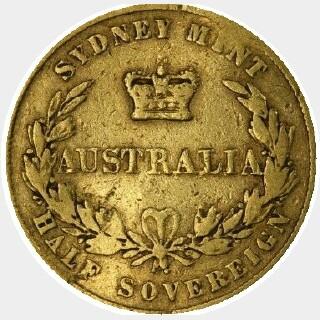 1858 REG as RFG Half Sovereign reverse