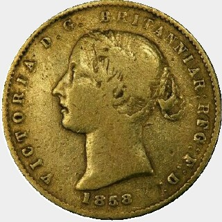 1858 REG as RFG Half Sovereign obverse