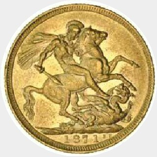 1871-S Proof Narrow Truncation Large Initials Short Tail Full Sovereign reverse