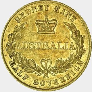 1859/8 Overdate Half Sovereign reverse