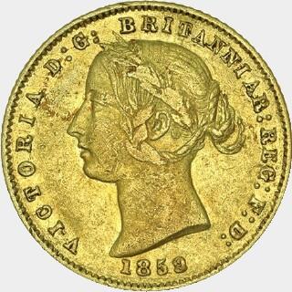 1859/8 Overdate Half Sovereign obverse