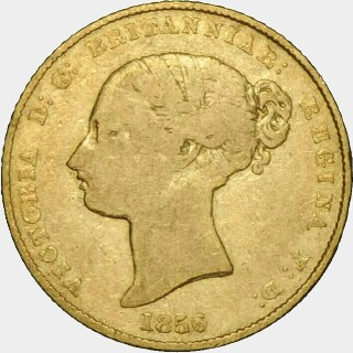 1856 Alternate Reverse Half Sovereign obverse