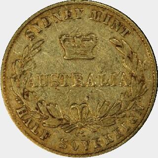 1861/60 Overdate Half Sovereign reverse