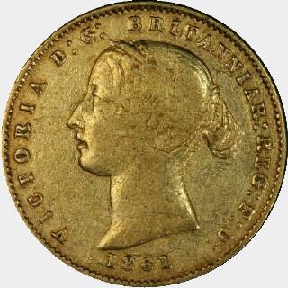 1861/60 Overdate Half Sovereign obverse