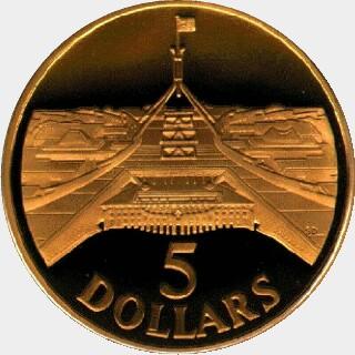 1988  Five Dollar reverse
