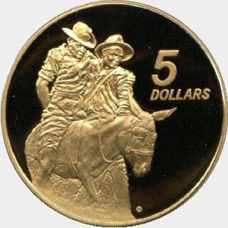 1990 Proof Five Dollar reverse