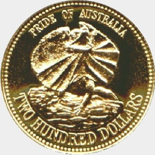 1989 Proof Two Hundred Dollar reverse
