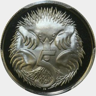 1975 Proof Five Cent reverse