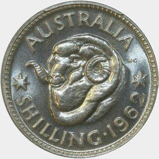 1962 Proof Shilling reverse