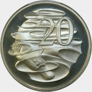 1981 Proof Twenty Cent reverse