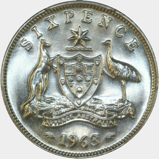 1963 Proof Sixpence reverse