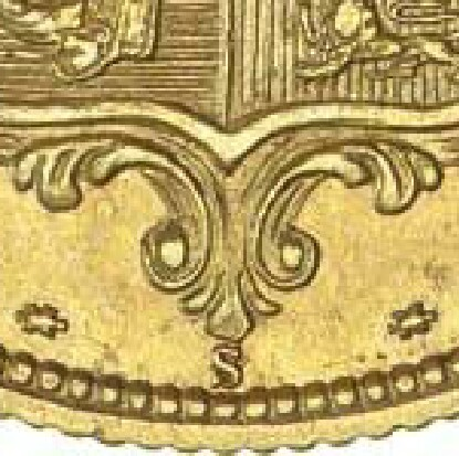S mintmark under the shield indicating Sydney mint