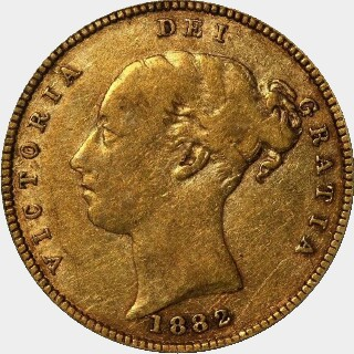 1882-S Beaded Reverse Low Relief Half Sovereign obverse