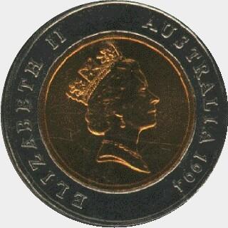1994 Bi-Metal Five Dollar obverse