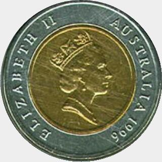 1997 Bi-Metal Five Dollar obverse