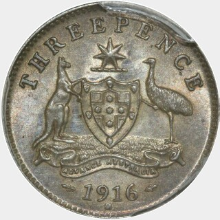 1916-M  Threepence reverse