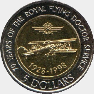 1998 Bi-Metal Five Dollar reverse