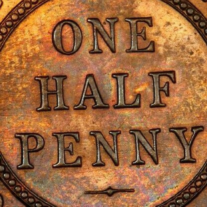 Die polishing striations on the reverse of a proof 1934 half penny