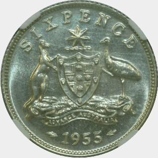 1955 Specimen Sixpence reverse