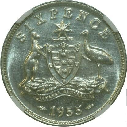 1955 specimen sixpence