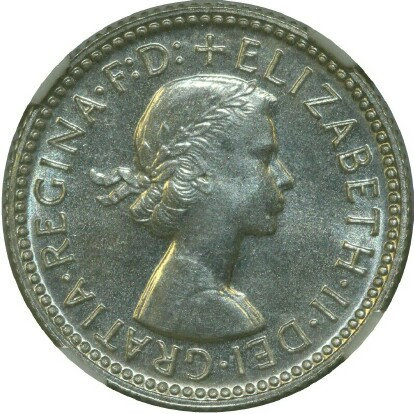 Obverse of the 1955 specimen sixpence