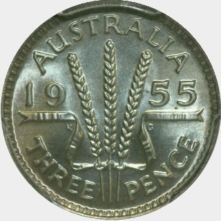 1955 Specimen Threepence reverse