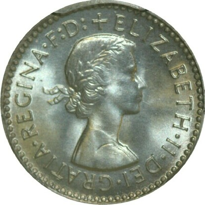 Obverse of the 1955 specimen threepence