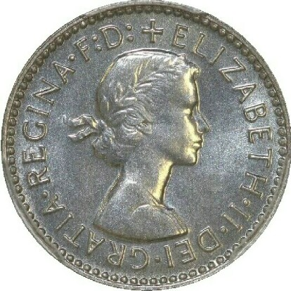 Obverse of the 1956 specimen threepence