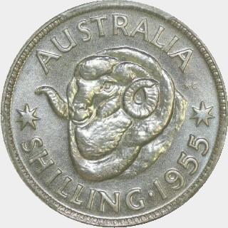 1955 Specimen One Shilling reverse