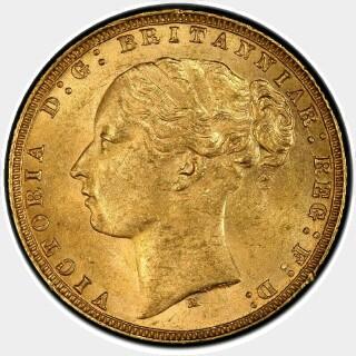 1877-M Narrow Truncation Long Tail Full Sovereign obverse