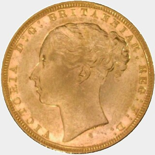 1880-S Narrow Truncation Long Tail Full Sovereign obverse