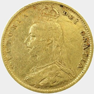 1889-S 12 pearls Half Sovereign obverse