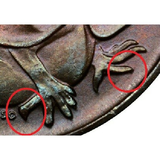Second claw from the right on the left foot is blunted indicates the coin was minted in Melbourne.