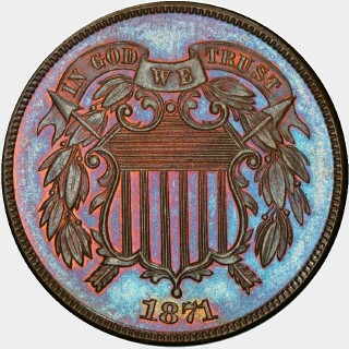 1871 Proof Two Cent obverse