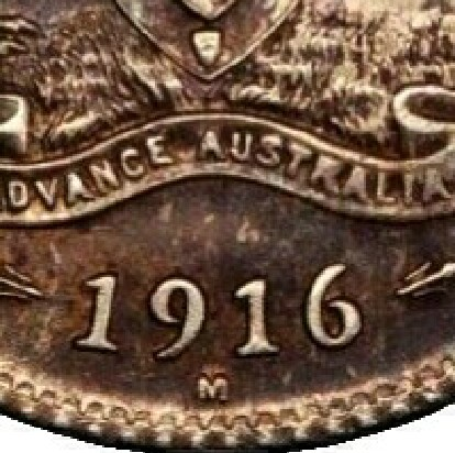Melbourne 'M' mint-mark on the reverse of a 1916-M Sixpence.