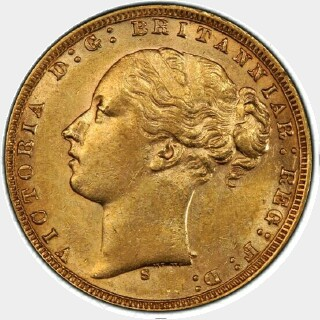 1875-S Narrow Truncation Long Tail Full Sovereign obverse
