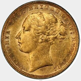 1879-M Narrow Truncation Long Tail Full Sovereign obverse