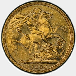 1889-M Small Head Full Sovereign reverse