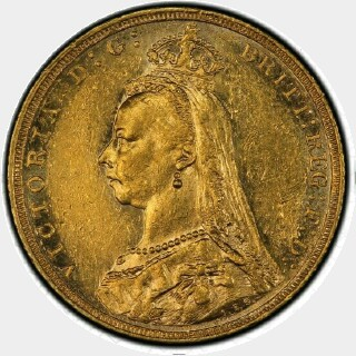 1889-M Small Head Full Sovereign obverse