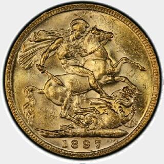 1897-M  Full Sovereign reverse
