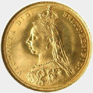 1889-S Large Head Full Sovereign obverse