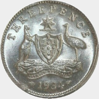 1934  Threepence reverse