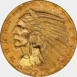 1913-S  Five Dollar obverse
